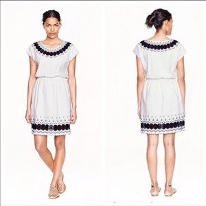 J. Crew Embroidered Scallop Dress White and Blue